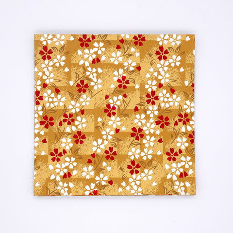 Washi Origami Paper with White and Red Flowers