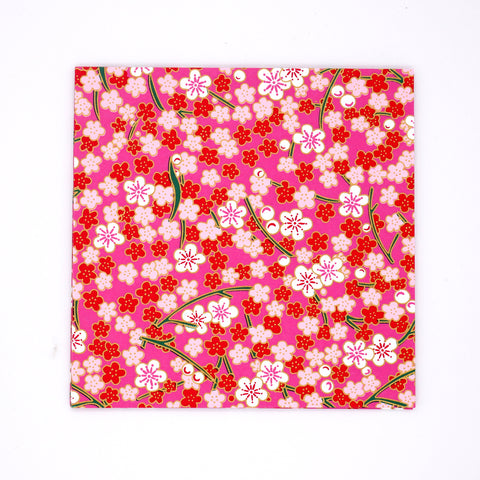 Washi Origami Paper with Red and Pink Cherry Blossom