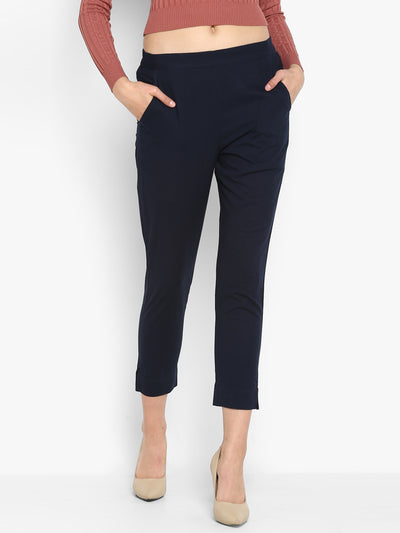 Navy Blue Pure Cotton Narrow Pant(BTM021)