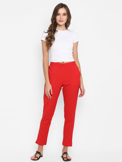 Red Pure Cotton Narrow Pant(BTM026)