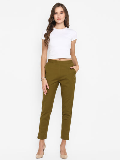 Green Pure Cotton Narrow Pant(BTM027)