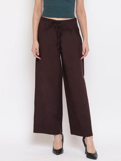 Brown Pure Cotton Palazzo Pant