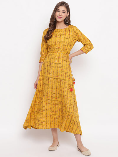 Mustard Cotton Flex Ethnic Dress(J0016)