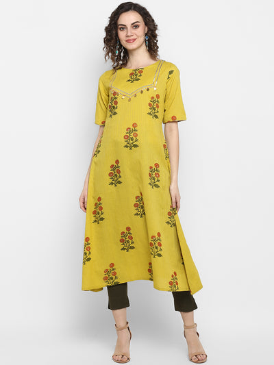 Lemon yellow Pure Cotton Kurta(J0035)