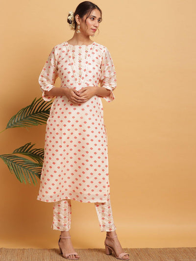 Peach Poly Silk Kurta With Pant