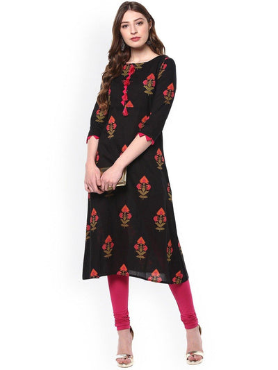 Black Pure Cotton Kurta(JNE2170)