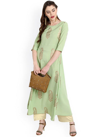 Light Green Poly Crepe Kurta(JNE2205)