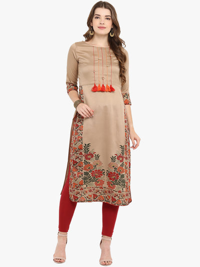 Light Brown Poly Silk Kurta
