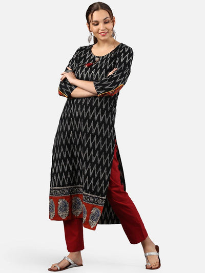 Black Pure Cotton Straight Kurta