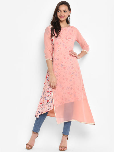 Pink Poly Crepe Layered Kurta