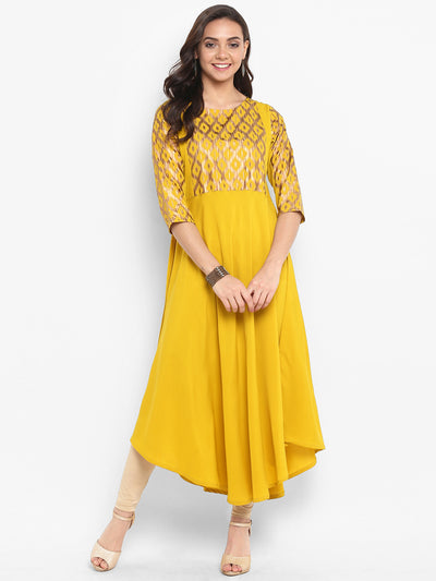 Yellow Poly Crepe Kurta