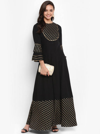 Black Poly Crepe Kurta