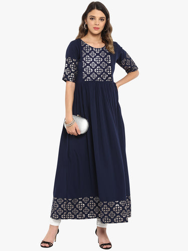 Dark Blue Poly Crepe Kurta(JNE3363)