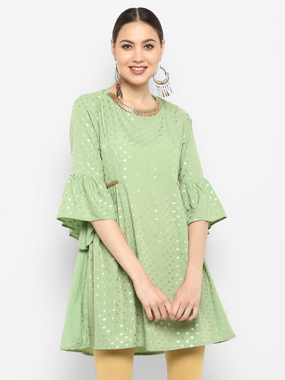 Poly Crepe Short Flared Kurta