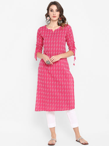 Pink Pure Cotton Kurta(JNE3405)