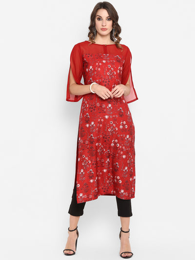 Red Poly Crepe Kurta