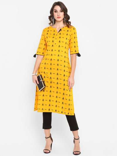Mustard Pure Cotton Kurta