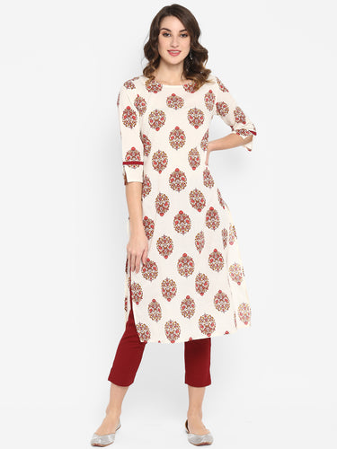 White Pure Cotton Kurta(JNE3440)