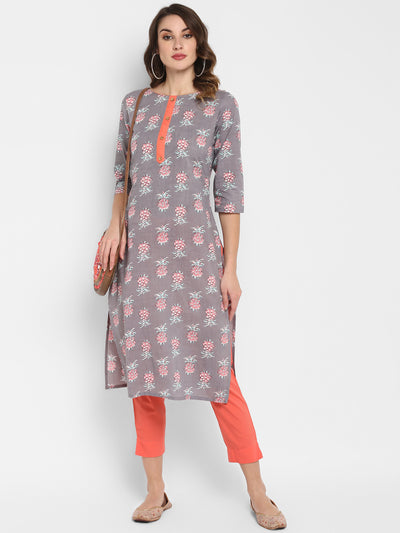 Grey Pure Cotton Kurta