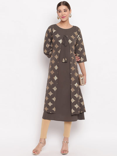 Olive Green Poly Crepe Kurta With Attached Jacket(JNE3483)