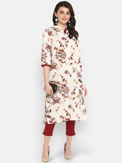Cream Cotton Flex Kurta(JNE3543)
