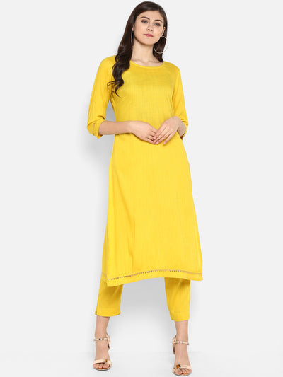 Yellow Rayon Kurta With Pant(SET051)