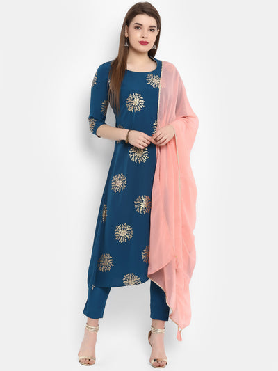 Poly Crepe Kurta With Pant & Dupatta