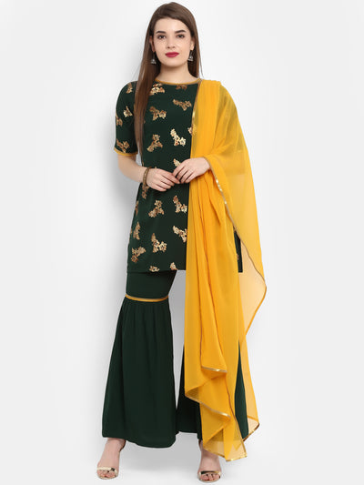 Poly Crepe Kurti With Sharara & Dupatta