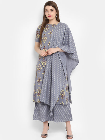 Grey Pure Cotton Kurta With Palazzo & Dupatta
