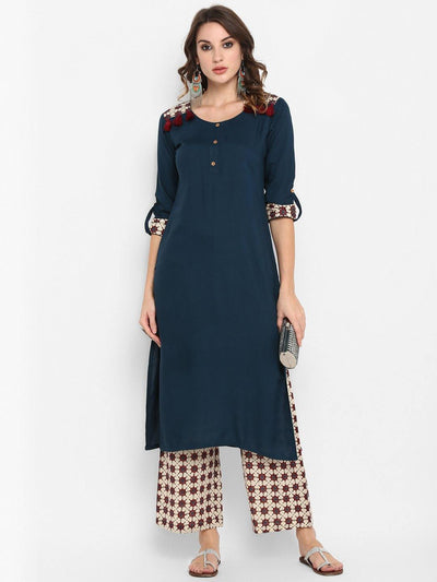 Blue Rayon Kurta With Palazzo(SET165)