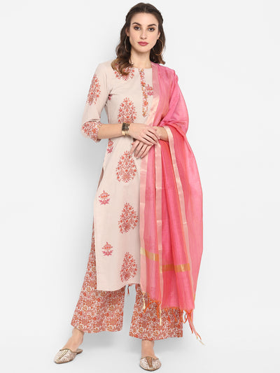 Multicolor Pure Cotton Kurta With Palazzo And Dupatta(SET172)