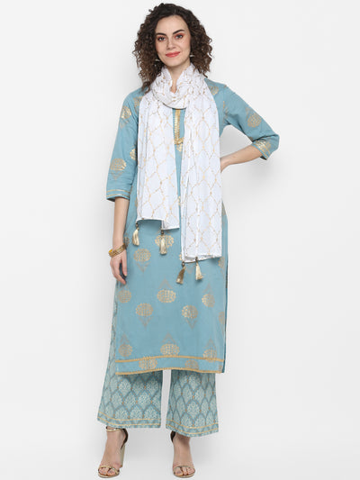 Sea Green Pure Cotton Kurta With Palazzo & Dupatta