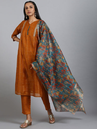 Rust Kurta With Pant & Dupatta