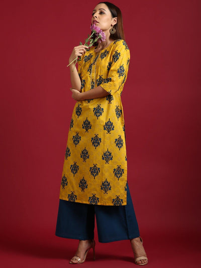Yellow Cotton Kurta With Palazzo