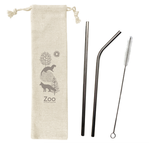 Reusable metal straw kit