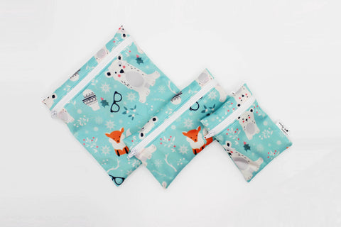 Sandwich and snacks reusable bags - Winter wonderland