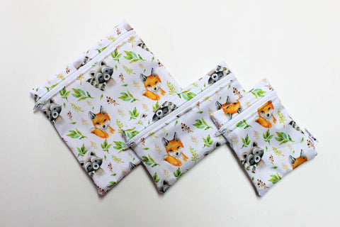 Sandwich and snacks reusable bags - Raccoons and foxes