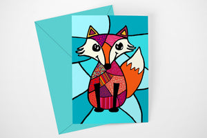 Greeting card - Patchwork Red Fox