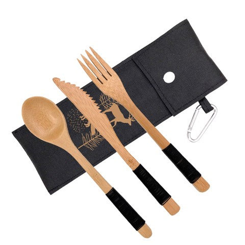 Bamboo utensils with pouch