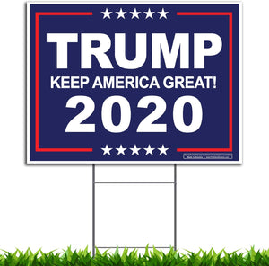 TRUMP 2020 KEEP AMERICA GREAT Yard Sign Blue 24x18
