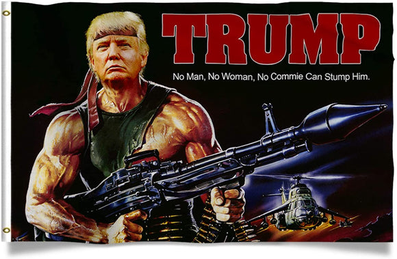 TRUMP Rambo Flag Machine Gun Rocket Launcher 3x5