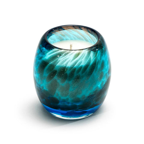 Artisanal hand blown glass abalone shimmer blue candle
