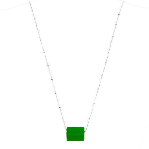 Upcycled glass cube sterling pine necklace