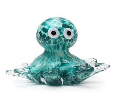 Glass figurine octopus glow teal