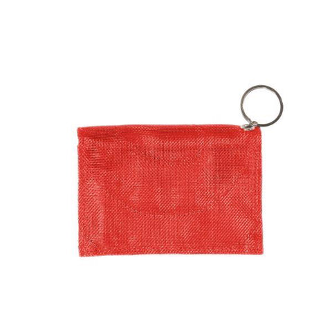 Repurposed netting persimmon wallet with keyring