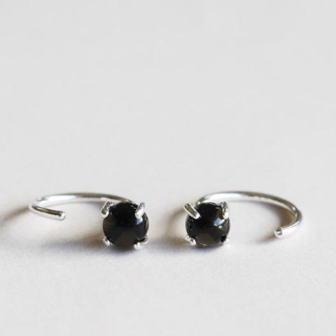 Silver gemstone huggie earrings obsidian