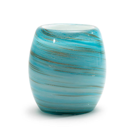 Artisanal hand blown glass blue gold candle