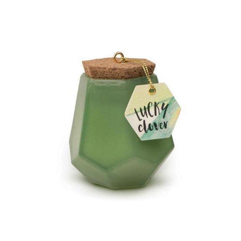Prism candle with cork lid clover