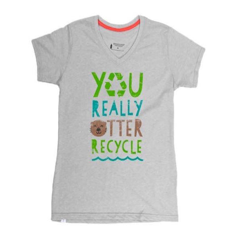 Women's otter recycle short sleeve v-neck tee