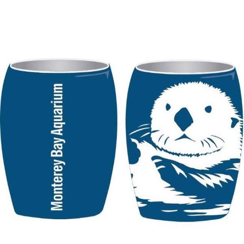 Shot glass sea otter etched matte blue